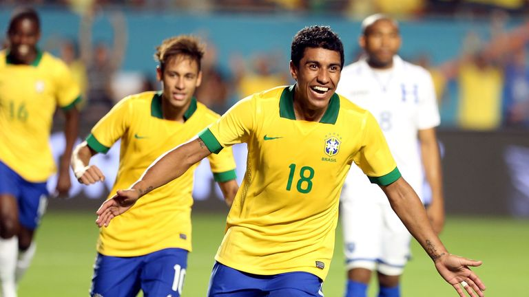 Paulinho: Celebrates one of Brazil's five goals