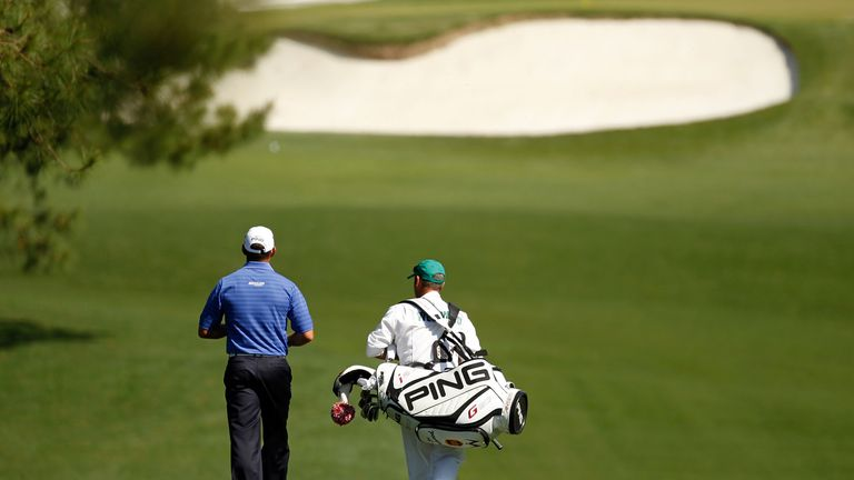 Walking with Westwood down the immaculate Augusta fairways in 2012