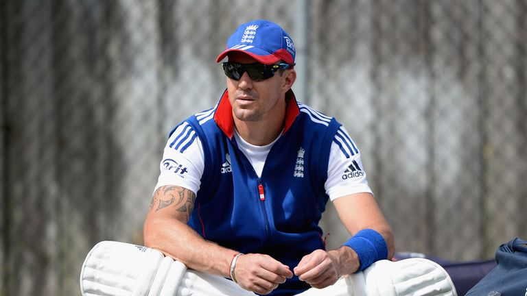 Kevin Pietersen: England batsman takes a break during nets