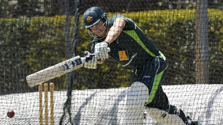 Shane Watson bats during a nets session at Allan Border Field