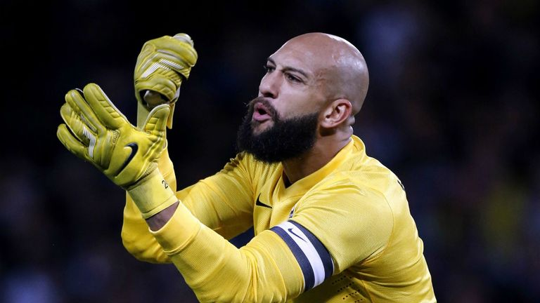 Tim Howard: Kept a clean sheet as the USA drew in Scotland
