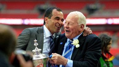 Roberto Martinez and Dave Whelan celebrate Wigan's 2013 FA Cup success