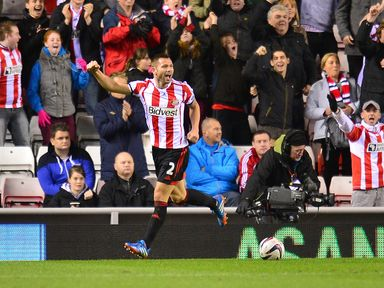 Phil Bardsley celebrates scoring for Sunderland
