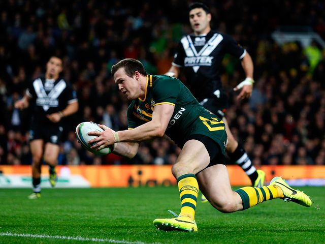 Brett Morris crosses for Australia