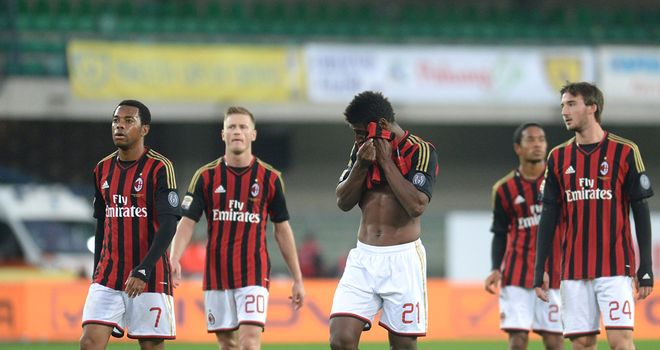 AC Milan show their frustrations at the final whistle