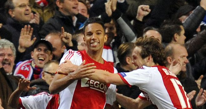 Danny Hoesen (left): Celebrates his strike against Barcelona