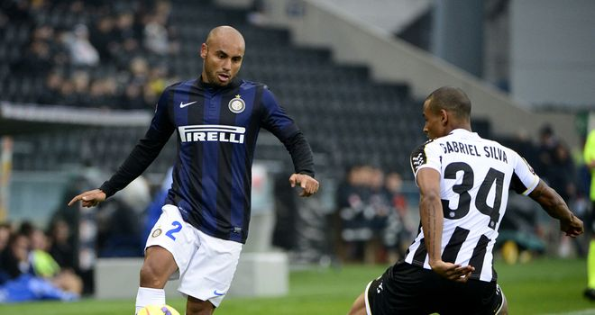Jonathan tries to get forward for Inter Milan