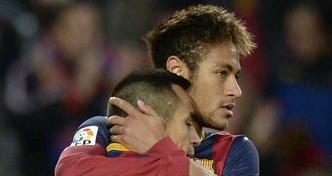 Barcelona's Alexis Sanchez celebrates with Neymar