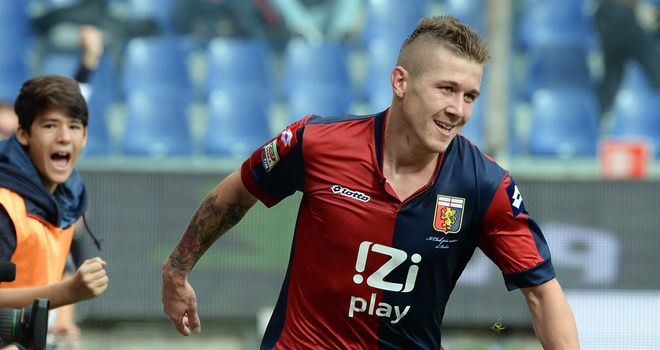 Juraj Kucka of Genoa celebrates after scoring