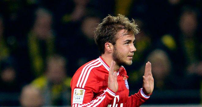 Mario Goetze celebrates scoring for Bayern Munich