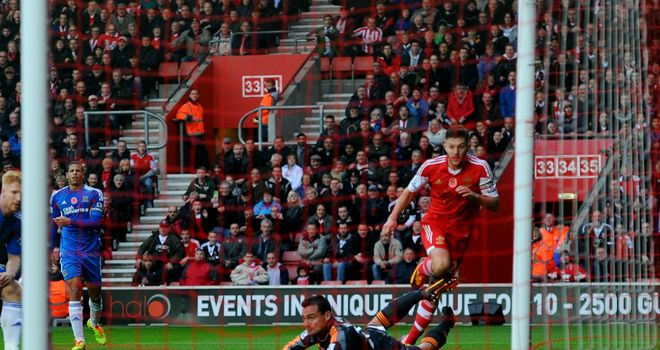 Adam Lallana slotted home Southampton's third just before half-time