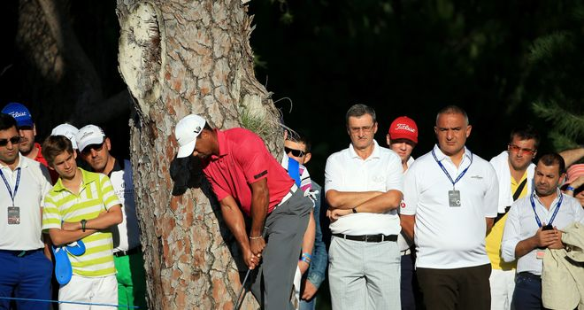 Tiger Woods finds tree trouble at the 16th