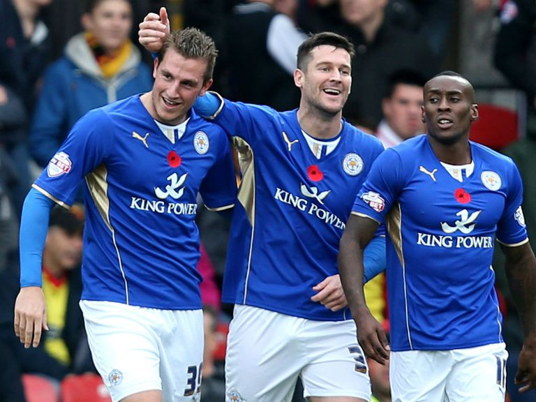 Leicester celebrate Chris Wood's opener in the win against Watford.