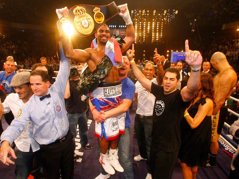 David Haye celebrates his win over Nikolai Valuev in 2009