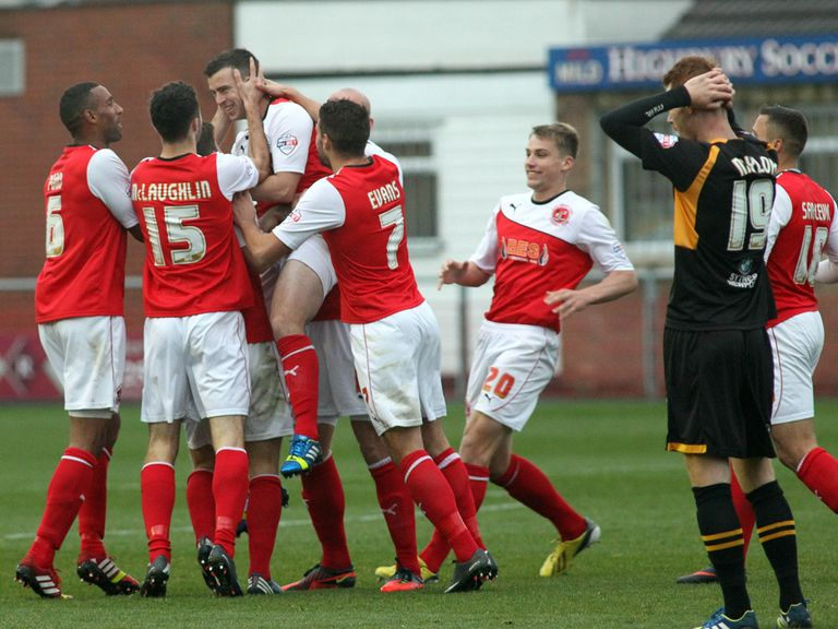 Fleetwood celebrate as they beat Newport 4-1.