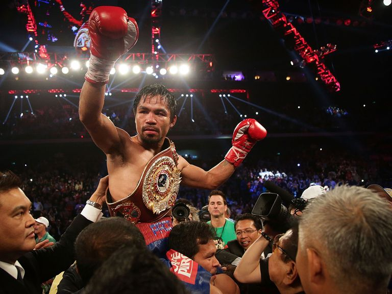 Manny Pacquiao celebrates his victory