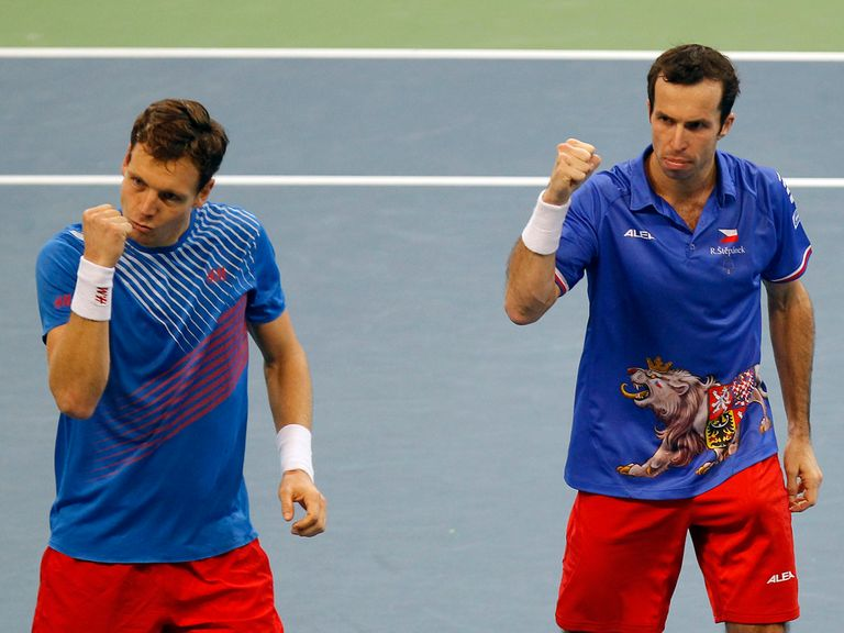 Berdych (l) and Stepanek led the Czech Republic to Davis Cup glory again