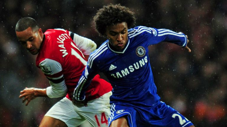 Willian: In action for Chelsea against Arsenal