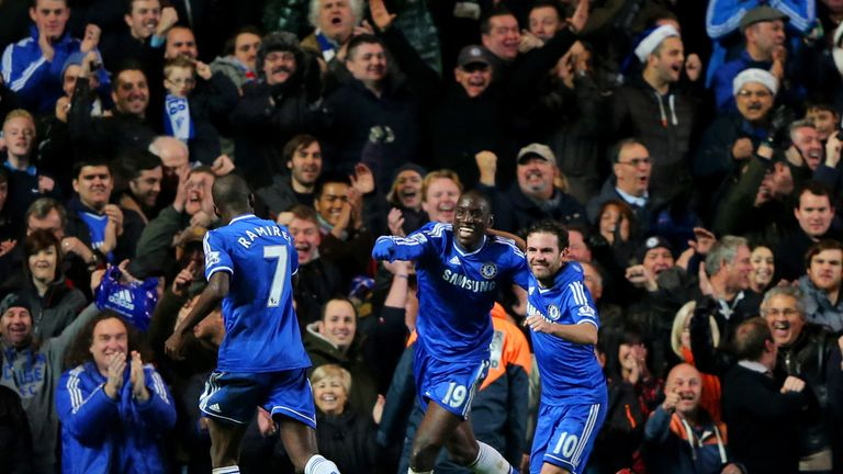 Demba Ba: Celebrates Chelsea's third goal