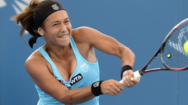 Heather Watson suffered a straight sets first round defeat at the Brisbane International