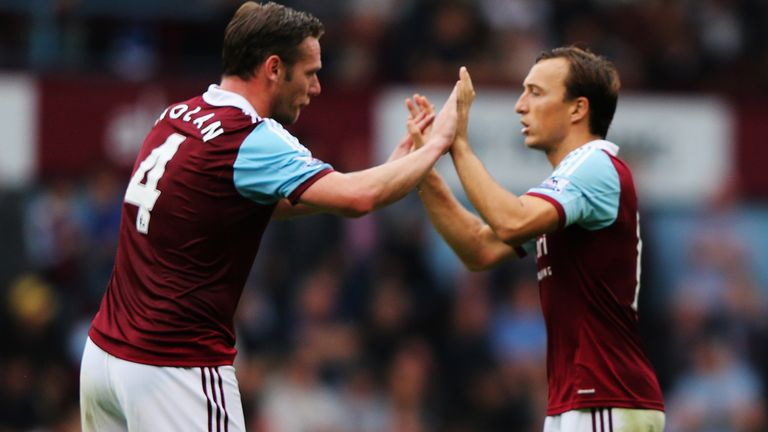 Mark Noble, right, has defended the recent form of captain Kevin Nolan