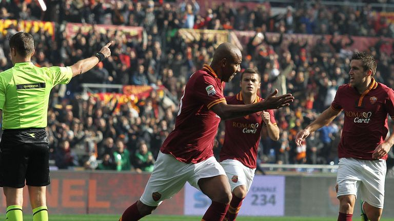 Maicon: Celebrates his goal as Roma see off Fiorentina