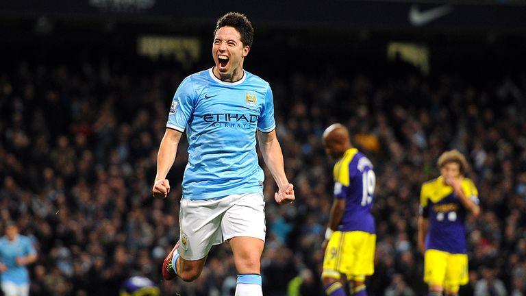 Samir Nasri: Manchester City midfielder celebrates against Swansea