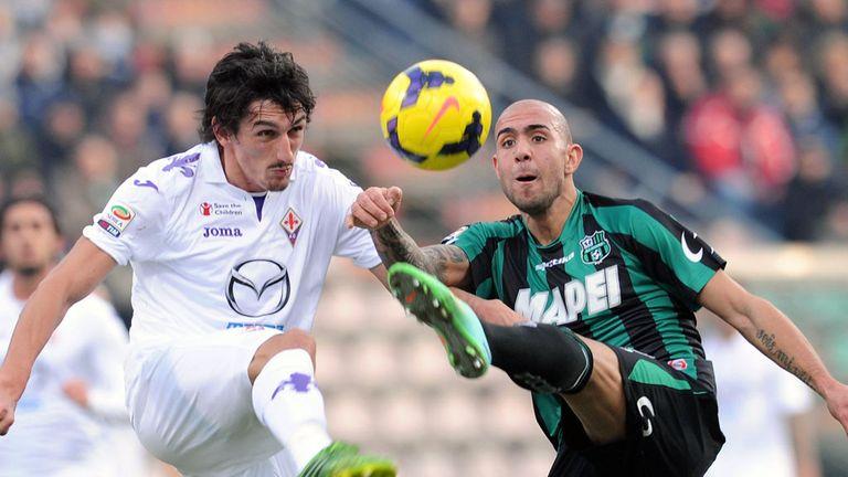 Stefan Savic and Simone Zaza battle for the ball