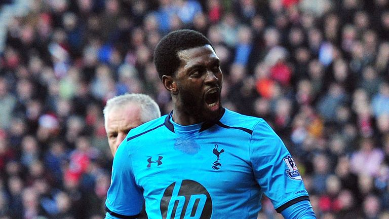 Emmanuel Adebayor: Celebrates his second goal
