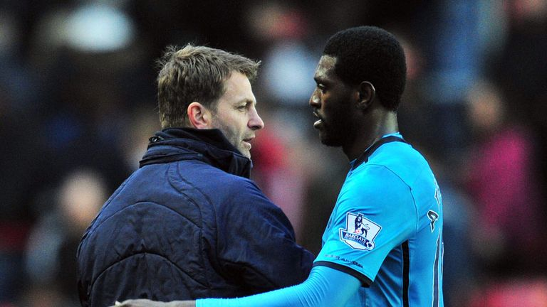 Tim Sherwood and Emmanuel Adebayor: Tottenham duo set for Arsenal showdown