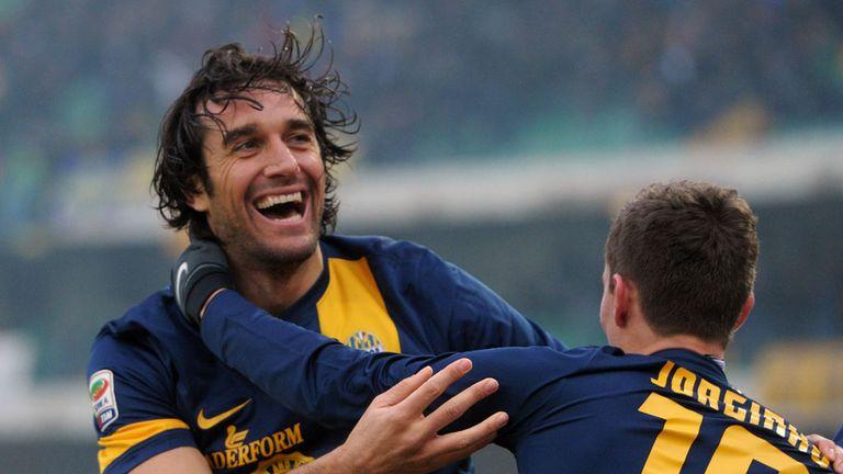 Luca Toni celebrates for Verona