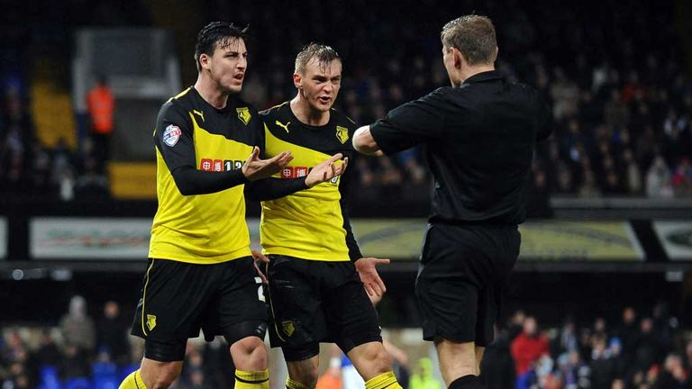 Watford players protest to Graham Scott at Portman Road
