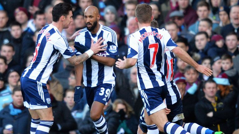 Nicolas Anelka (centre): West Brom striker caused controversy with goal celebration