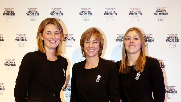 Clare Connor with Charlotte Edwards and Heather Knight, both part of the Chance to Shine scheme