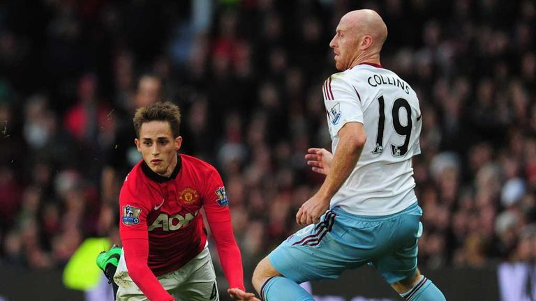 Adnan Januzaj: Manchester United winger hits the deck at Old Trafford as James Collins challenges