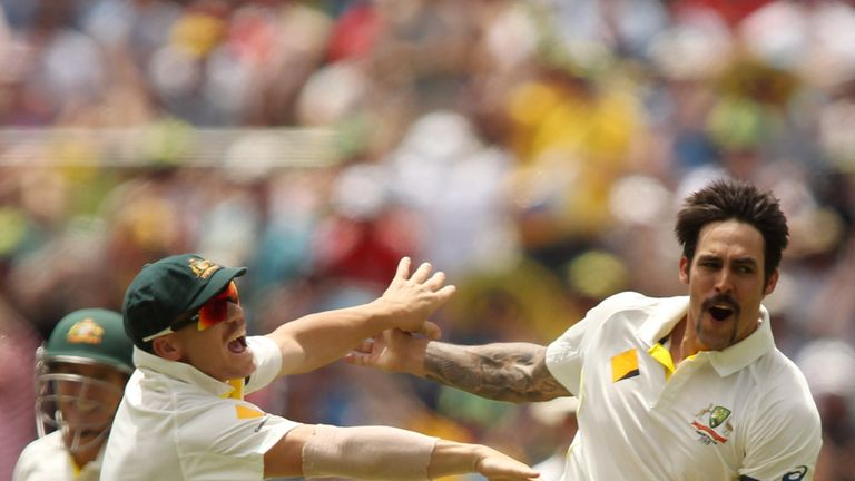 Celebration: Australia's Mitchell Johnson celebrates another wicket in the Second Test romp.