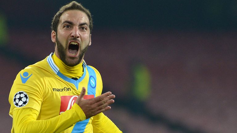 Gonzalo Higuain: Napoli forward celebrates his strike against Arsenal