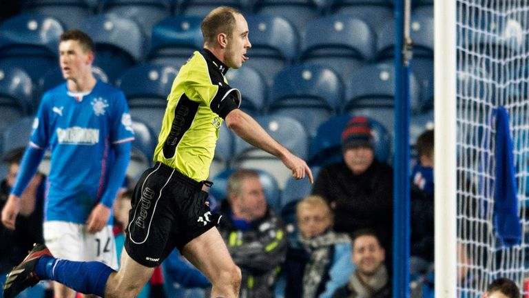 Longworth celebrates Stranraer's late leveller at Ibrox