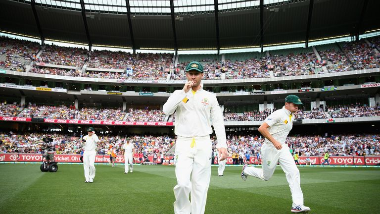 Michael Clarke of Australia leads his team out during day one of the fourth Ashes Test against England at the MCG