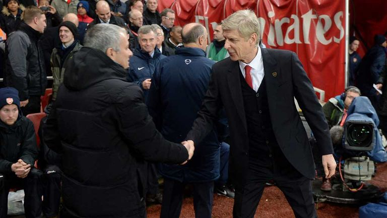 Jose Mourinho: Chelsea manager greets Arsenal boss Arsene Wenger at the Emirates on Monday