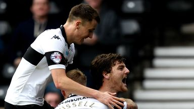 Chris Martin: Celebrations as the Derby County striker netted a hat-trick