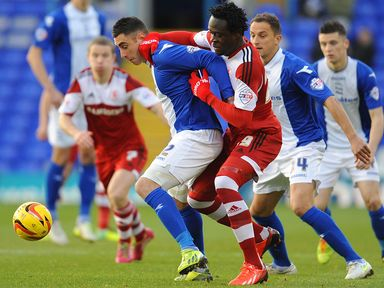 Lee Novak of Birmingham and Kei Kamara of Middlesbrough in action