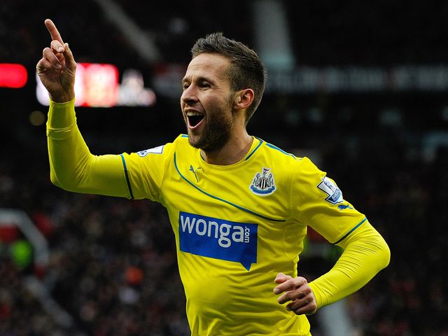Yohan Cabaye celebrates his goal for Newcastle