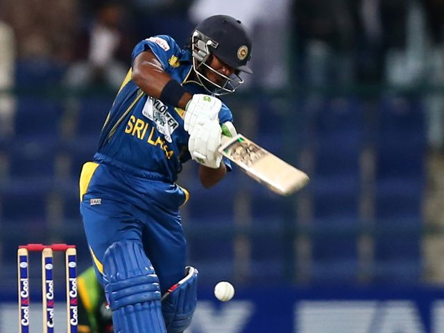 Kusal Janith Perera of Sri Lanka in action