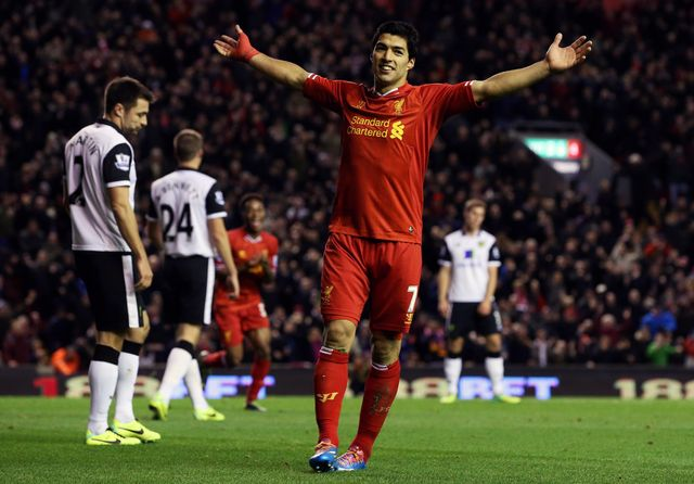 All smiles at Anfield for Luis Suarez