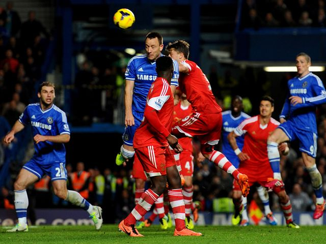 John Terry heads home Chelsea's second goal.