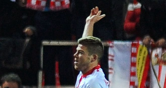 Alberto Moreno celebrates for Sevilla