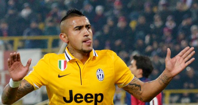 Arturo Vidal celebrates for Juventus