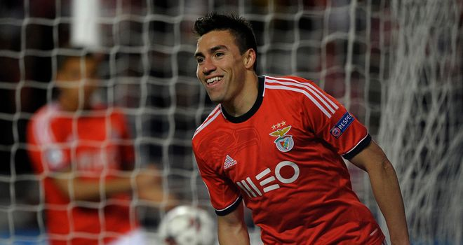 Nicolas Gaitan: Celebrates his winner against PSG