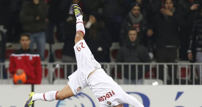 Emmanuel Riviere celebrates his goal for Monaco